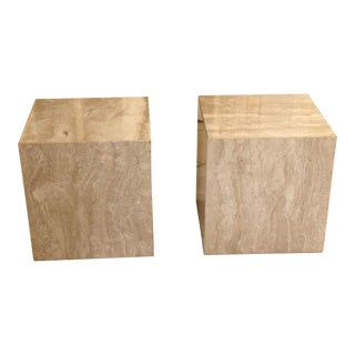 1970s Vintage Minimalist Italian Travertine Side Tables – A Pair For Sale