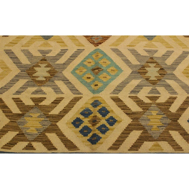 Nancee Blue/Ivory Hand-Woven Kilim Wool Rug -5'6 X 8'5 For Sale In New York - Image 6 of 8