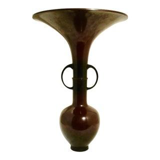 Japanese Bronze Floral Vase For Sale
