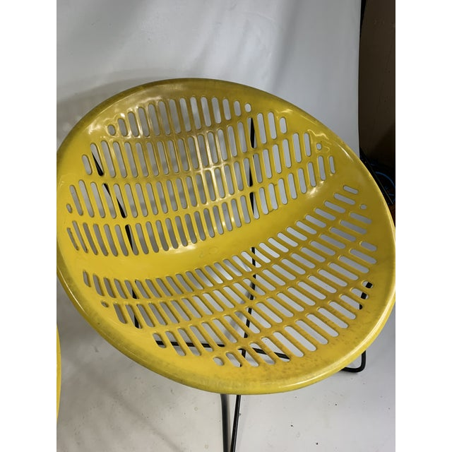 Mid Century Howard Johnson Hotel Yellow Solar Lounge Chairs- a Pair For Sale In New York - Image 6 of 11