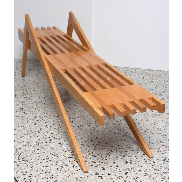 "Bespoke Wood, ""Grasshopper"" Bench by the American Architect, Marc Phiffer For Sale In West Palm - Image 6 of 10"