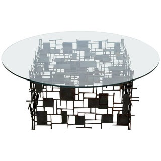 Mid-Century Modern Brutalist Nail Coffee Table Silas Seandel Paul Evans Era For Sale