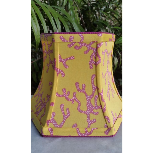 Lee Jofa Lilly Pulitzer Fabric Lampshade Yellow Pink Coral Clip On For Sale - Image 4 of 11