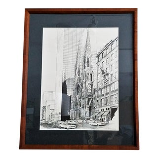 Pen & Ink Monochrome Lithograph by S. Finkenberg - New York's St. Patrick's Cathedral