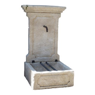 Small Limestone Wall Fountain From Provence, France For Sale