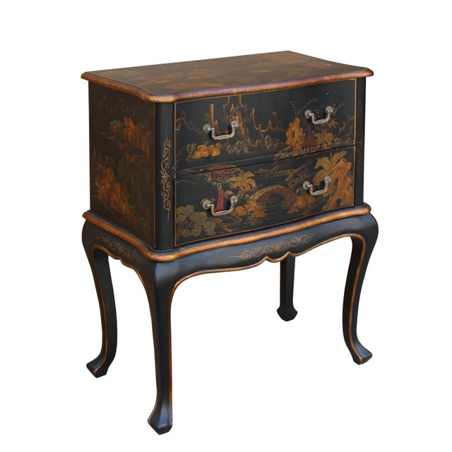 Chinese Oriental Black Gold Lacquer Scenery Graphic Credenza Side Table For Sale In San Francisco - Image 6 of 11