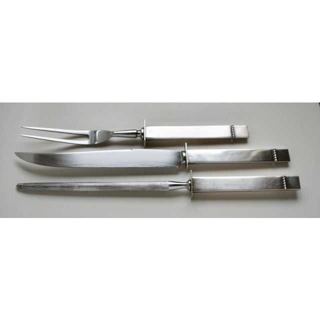 Mid-Century Silver Plate Carving Set - Image 3 of 9