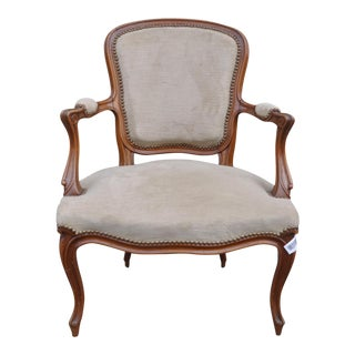 Vintage French Taupe Velvet Walnut Louis XV Rococo Style Armchair Fauteuil For Sale