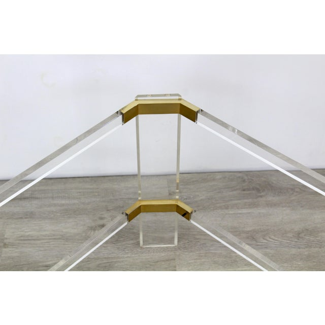 1980s Vintage Brass and Lucite Side Table For Sale - Image 5 of 6