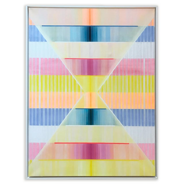 Created in 2020, this original oil painting by contemporary British artist, Natasha Mistry, exudes a rhythmic and...