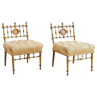 American Aesthetic Movement Giltwood Tufted Slipper Chairs For Sale