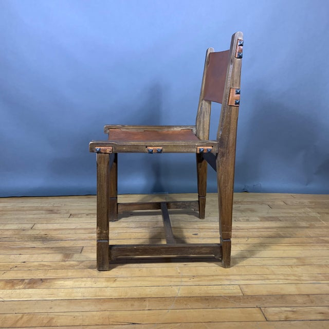 Four French 1940s Saddle Leather & Oak Dining Chairs For Sale - Image 9 of 13