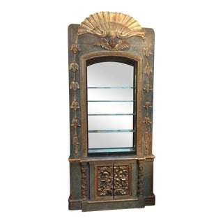 Open Mirrored & Giltwood Display Cabinet