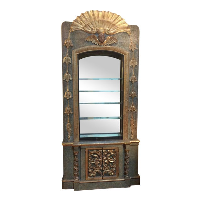 Open Mirrored & Giltwood Display Cabinet For Sale