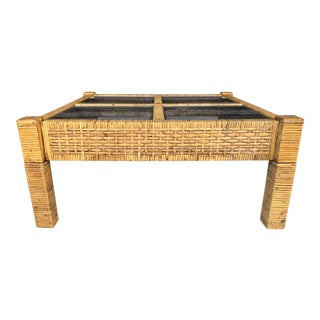 Vintage Wrapped Rattan Billy Baldwin Style Coffee Table For Sale