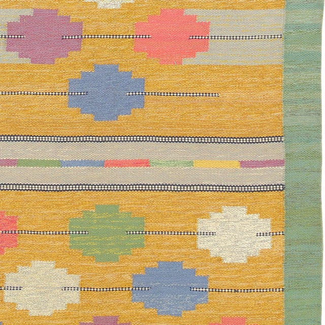 Mid 20th Century Mid 20th Century Swedish Flat Weave Rug- 4′1″ × 7′4″ For Sale - Image 5 of 6