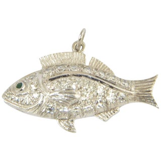 20th Century Contemporary Diamond Fish Charm Pendant For Sale
