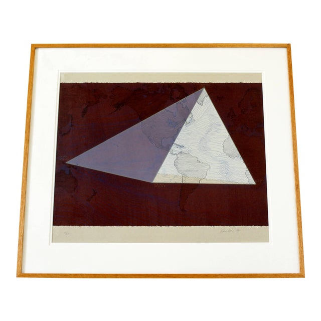 """1980s Abstract Framed Lithograph 5/50 """"Four Corners Project - World View"""" Print by David Barr For Sale"""