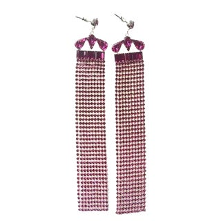 Fuschia Fringe Earrings For Sale