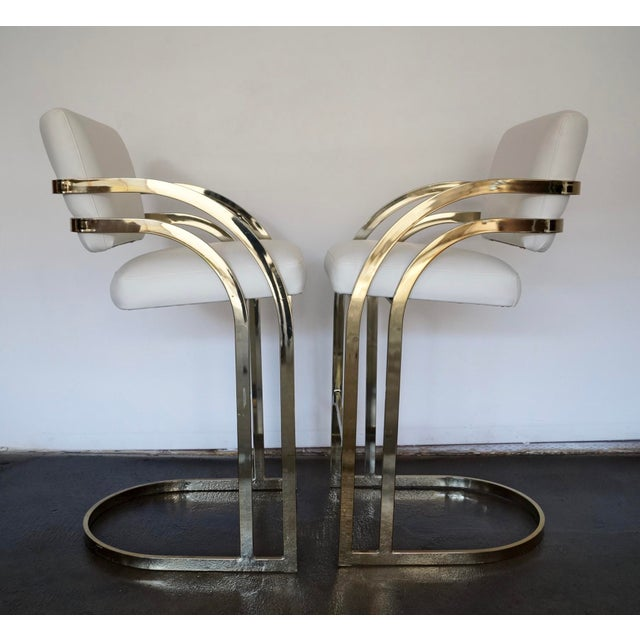 Hollywood Regency Cantilevered Bar Stools in Brass - A Pair - Image 5 of 8
