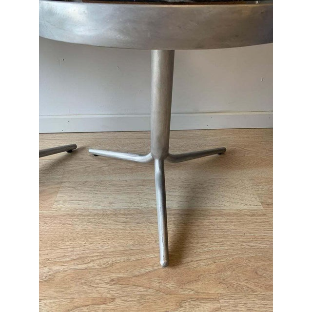 Black Aluminum and Marble Side Tables - a Pair For Sale - Image 8 of 12