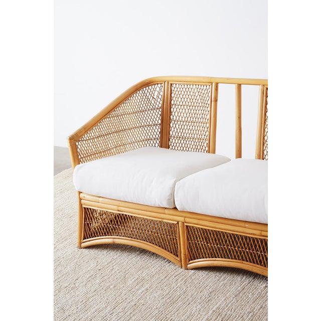 Midcentury Bamboo Rattan Wicker Three-Seat Sofa For Sale - Image 9 of 13