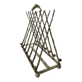 20th Century Art Nouveau Silver-Plate Fishing Rod Themed Toast Rack