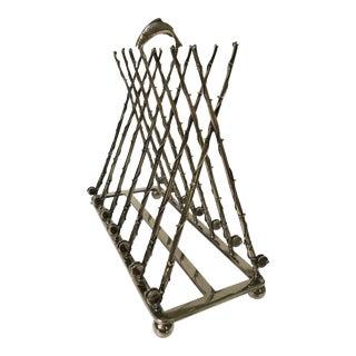 20th Century Art Nouveau Silver-Plate Fishing Rod Themed Toast Rack