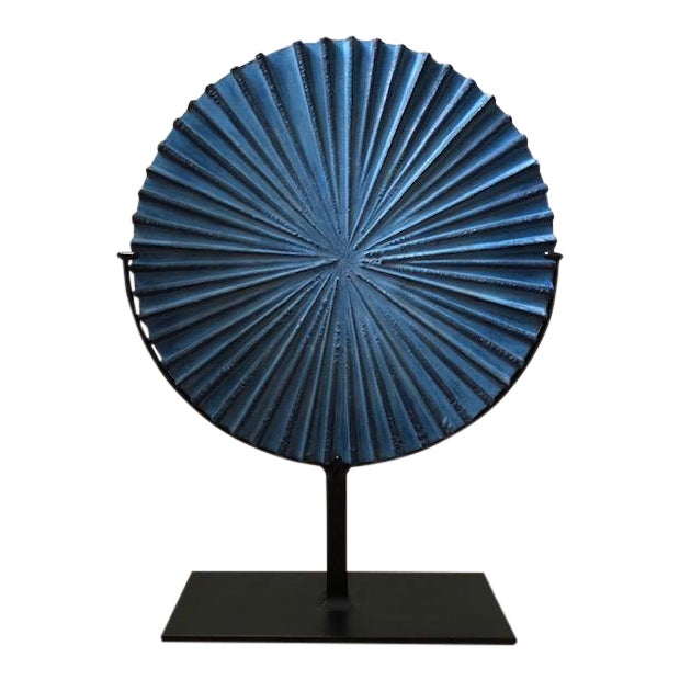 Modern Blue Steel Burst Sculpture For Sale