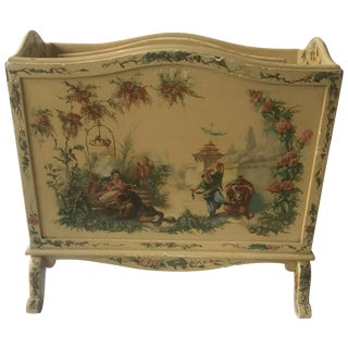 1940s Chinoiserie Hand Painted Magazine Holder For Sale
