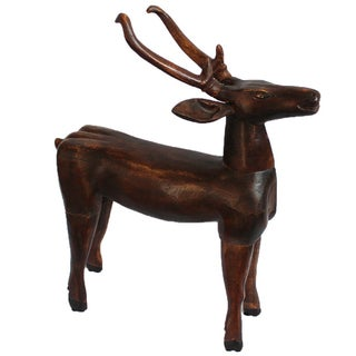 Antique Javanese Wood Deer For Sale
