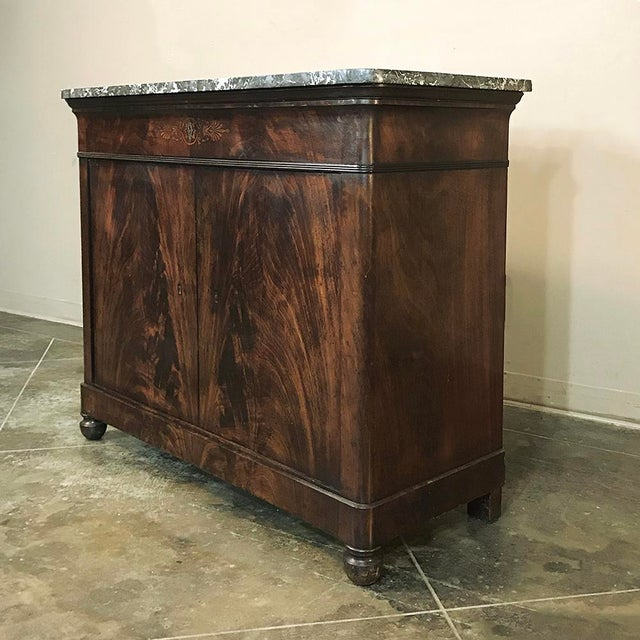 Empire 19th Century French Charles X Mahogany Marble Top Buffet For Sale - Image 3 of 13