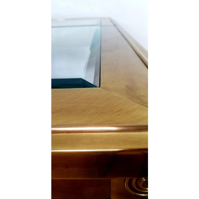 Mid-Century Modern Mastercraft Brass and Beveled Glass Extension Table With Columnar Legs For Sale - Image 12 of 13