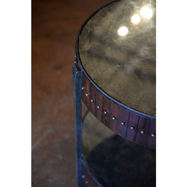 Industrial Thomas & Gray Two Tired Beaded Drum Accent Lamp Table For Sale - Image 3 of 6