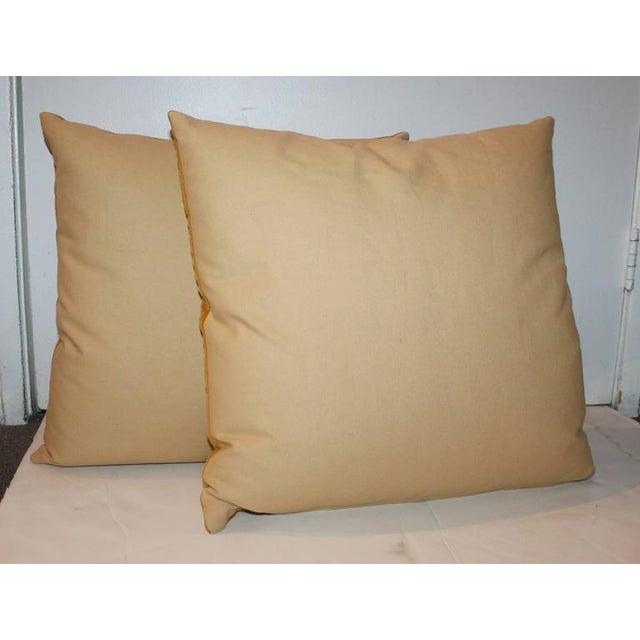 1940s Pair of Sunrise Orange Velvet Pillows For Sale - Image 5 of 7