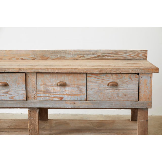 Rustic American Pine Three-Drawer Workbench Table For Sale - Image 4 of 13