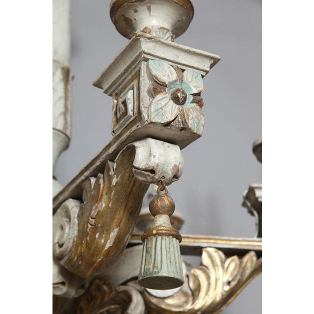 Polychromed & Parcel Gilt 18th/19th Century Wooden Chandelier For Sale - Image 10 of 11
