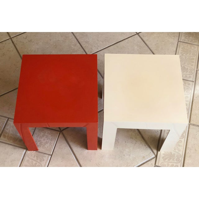 1970s 1970s Modern Parsons Fiberglass Red and White Side Tables – a Pair For Sale - Image 5 of 6
