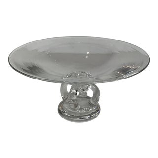 Mid-Century Modern American Crystal Art Glass Pedestal Stuben Signed For Sale