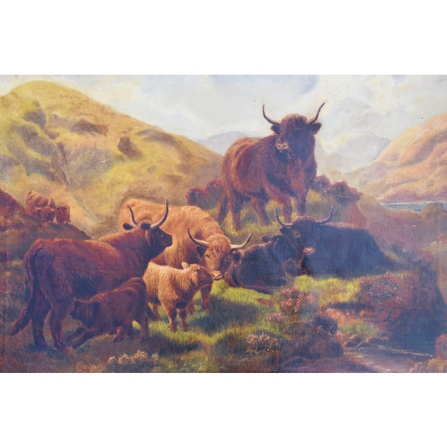66d89d68811 Vintage Scottish Highland Cattle Oil Painting For Sale - Image 4 of 11