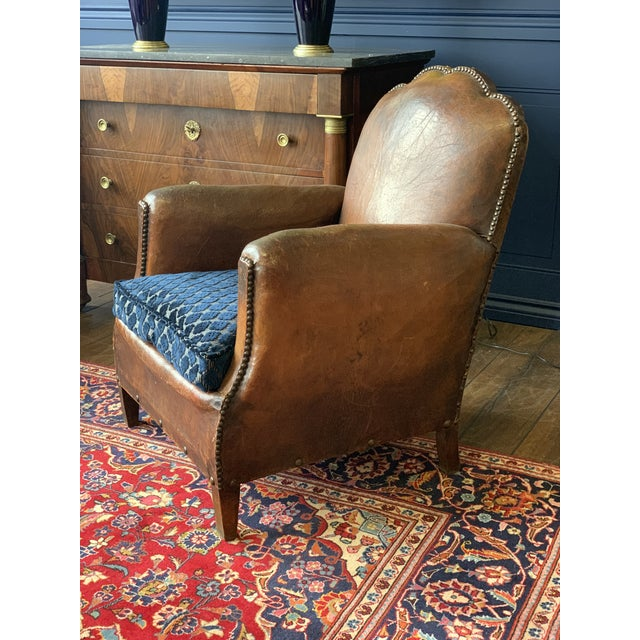 1930's Vintage Art Deco Leather Club Chairs - A Pair For Sale - Image 9 of 10
