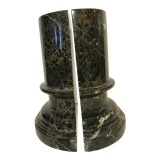 Black Marble Column Bookends - a Pair For Sale