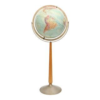 Mid Century Modern Vintage World Globe With Wood Spool Stand