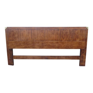 Vintage Henredon Campaign Oak King Headboard For Sale