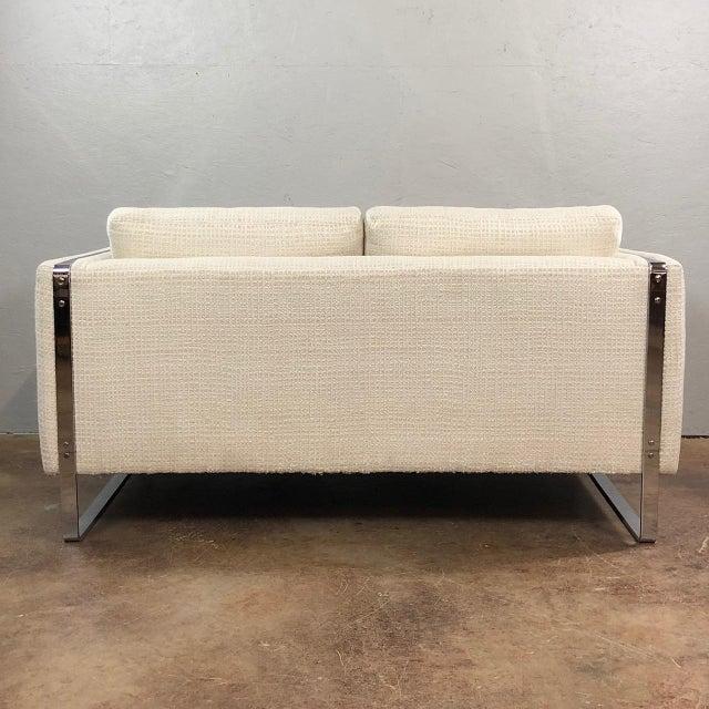 Milo Baughman Mid Century Modern Milo Baughman Chrome Framed Love Seat For Sale - Image 4 of 11