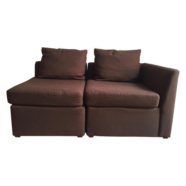 Mitchell Gold Brown Modular Loveseat - Image 1 of 6