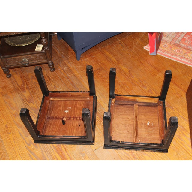 Asian 1960s Black Chinese End Tables - a Pair For Sale - Image 3 of 7