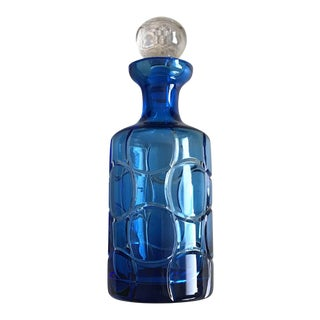 Cased Crystal Aqua Blue and Clear Modern Crystal Decanter