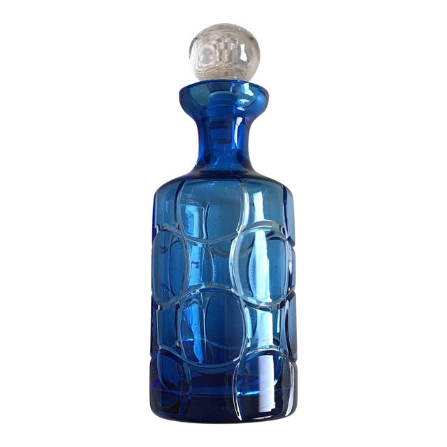 Cased Crystal Aqua Blue and Clear Modern Crystal Decanter For Sale