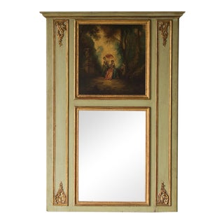 19th Century French Louis XVI Style Painted Trumeau Mirror For Sale
